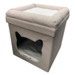 貓咪日常用品-封閉式折疊上下床貓窩貓屋貓房子-杏色-其他-寵物用品速遞