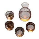 日式玻璃酒清酒具套裝 金邊錘目紋 一瓶四杯 酒品配件 Accessories 清酒杯 清酒十四代獺祭專家