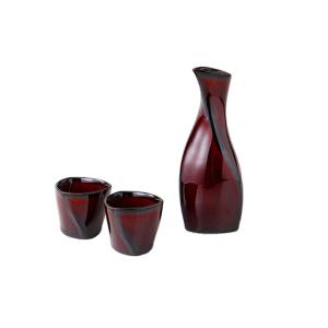日本Awasaka 清酒酒具套裝 漆紅 一瓶兩杯 (2055-2-41) 酒品配件 Accessories 分酒瓶 清酒十四代獺祭專家