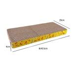 瓦楞紙貓抓板 大長方形 彩黃色圖案 [43.5x19x4] 貓咪玩具 貓抓板 貓爬架 寵物用品速遞