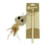 貓咪玩具-Billipets-天然木製貓棒-三角老鼠-NS-12212-逗貓棒-寵物用品速遞