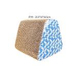 瓦楞紙貓抓板 立體三角形 藍色 [21.5x16x16.5] 貓咪玩具 貓抓板 貓爬架 寵物用品速遞