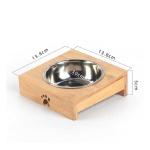 竹架銀色不銹鋼寵物碗 單碗 (貓犬用) 貓犬用日常用品 飲食用具 寵物用品速遞