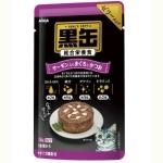 日本AIXIA愛喜雅 黑缶系列 綜合營養啫哩濕糧包 三文魚+金槍魚+鰹魚 70g (紫) 貓罐頭 貓濕糧 AIXIA 愛喜雅 寵物用品速遞