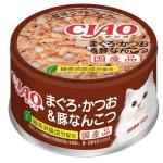 CIAO 日本貓罐頭 金槍魚及鰹魚及豬軟骨 85g (啡) (A-39) 貓罐頭 貓濕糧 CIAO INABA 寵物用品速遞