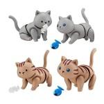 日本直送 公仔擺設 啃魚和魚骨的貓貓 1套4隻 生活用品超級市場 貓咪精品