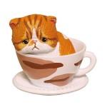 日本直送 貓公仔擺設 茶杯裡的憂鬱橙啡虎紋貓 1枚入 生活用品超級市場 貓咪精品
