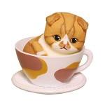 日本直送 貓公仔擺設 茶杯裡的呆萌淺啡虎紋貓 1枚入 生活用品超級市場 貓咪精品