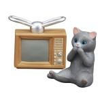 日本直送 貓公仔擺設 懷舊家電與貓兒 電視與灰貓 2枚入 生活用品超級市場 貓咪精品