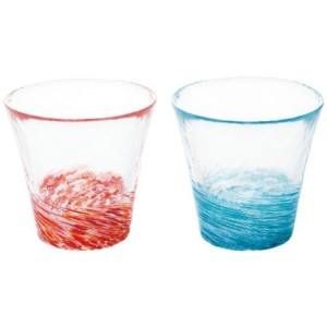 日本津輕 びいどろ 東雲淺葱清酒杯套裝 一套2個紅藍 (FS-71574) 酒品配件 Accessories 清酒杯 清酒十四代獺祭專家