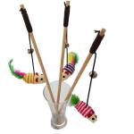 彩色劍麻老鼠木製帶鈴鐺逗貓棒 (顏色隨機) 貓咪玩具 逗貓棒 寵物用品速遞