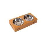 竹架銀色不銹鋼寵物碗 雙碗 (貓犬用) 貓犬用日常用品 飲食用具 寵物用品速遞