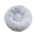 寵物床 圓形絨毛厚身軟軟睡窩 淺灰 L碼 貓犬用日常用品 床類用品 寵物用品速遞