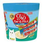 CIAO 貓零食 日本肉泥餐包 扇貝及海鮮味 14g 120本罐裝 SC-212 (藍綠) 貓小食 CIAO INABA 貓零食 寵物用品速遞
