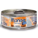 Monge Natural 高蛋白質貓罐頭 太平洋吞拿魚三文魚 80g (MO7245) 貓罐頭 貓濕糧 Monge 寵物用品速遞