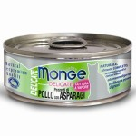 Monge Delicate 主食貓罐頭 雞肉蘆筍 80g (MO7320) 貓罐頭 貓濕糧 Monge 寵物用品速遞